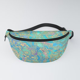 Sapphire & Jade Stained Glass Mandalas Fanny Pack