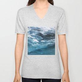 turquoise blue ocean waves Unisex V-Neck