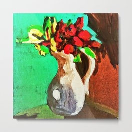 Self-conscious jug with bold flowers Metal Print