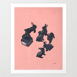 Black bunnies born from Manga ink Kunstdrucke