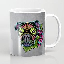 Boxer in Black - Day of the Dead Sugar Skull Dog Coffee Mug