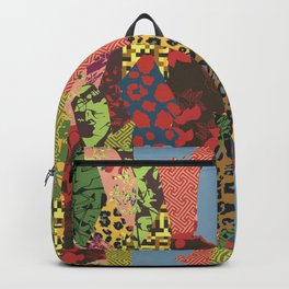 Patchwork of patterned textures abstract style Backpack