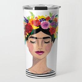 Floral Frida - Black & White Travel Mug