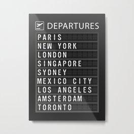 Travel Board Destinations Metal Print