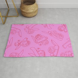 Peonies and Switchblades Rug
