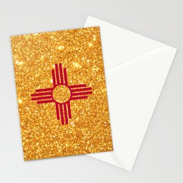 Gold Glitter New Mexico Flag Stationery Cards