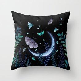 Moth Garden Throw Pillow