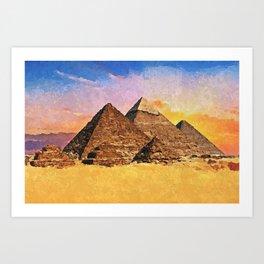 Giza pyramid complex - Acrylic & Palette Knife Paint on Canvas Art Print
