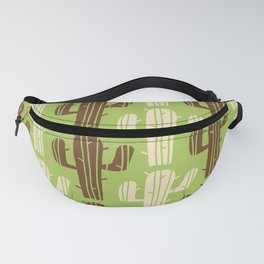 Mid Century Modern Desert Cactus Pattern 834 Chartreuse Brown and Beige Fanny Pack