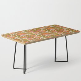 Orange, Pink Flowers and Green Leaves 1960s Retro Vintage Pattern Coffee Table