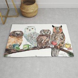 Tea owls , funny owl tea time painting by Holly Simental Rug