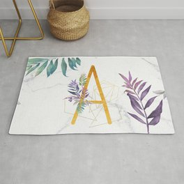 Modern glamorous personalized gold initial letter A, Custom initial name monogram gold alphabe Rug