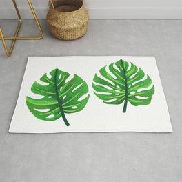 green monstera leaves illustration Rug