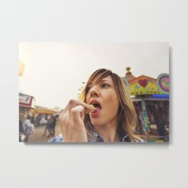 Lovely young woman in a Luna Park shortly before sunset in autumn Metal Print