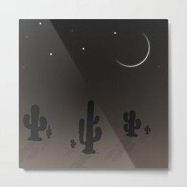 Dramatic Moonlit Silhouette Desert Night Illustration Metal Print