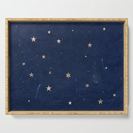 Good night - Leaf Gold Stars on Dark Blue Background Serving Tray