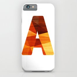 Letter A - Wooden Capital Typography iPhone Case