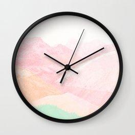 Pastel Mountains 2. Pink Peach Green Wall Clock
