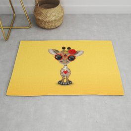 Red and Yellow Day of the Dead Sugar Skull Baby Giraffe Rug