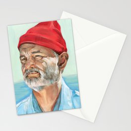 Steve Zissou Bill Murray Painted Portrait Stationery Cards
