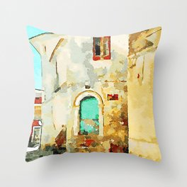 Buildings in the historic center of Tortora Throw Pillow