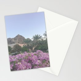 Magenta Bougainvillea Flowers Blooming against Omani Desert Mountains Photography Art Print Stationery Cards