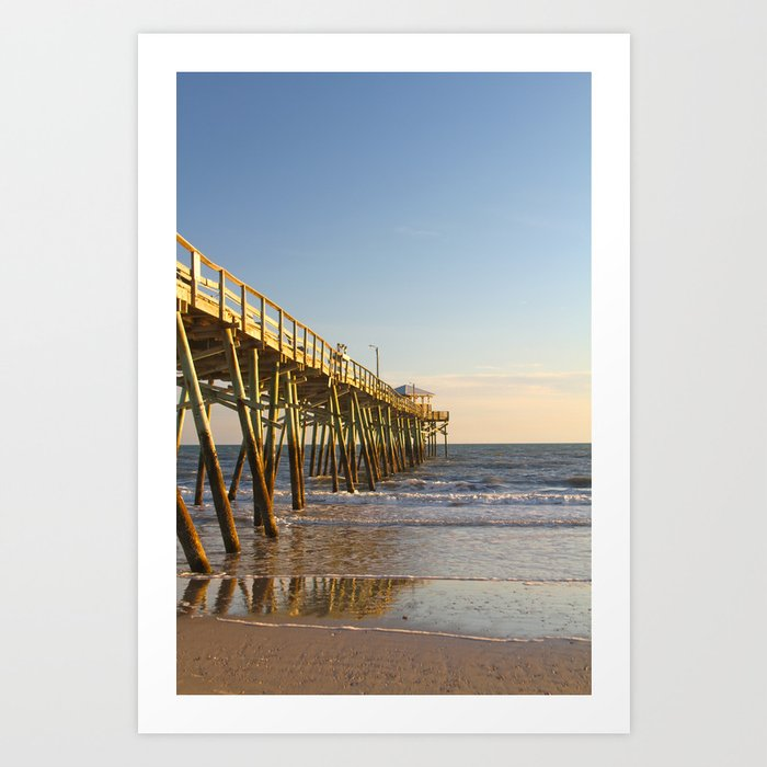 Outer Banks Fishing Pier And Ocean Seascape Art Print By Ryanmcgurl Society6