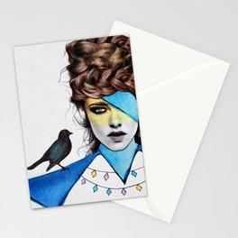 Blue Girl & Black Bird Stationery Cards