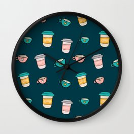 Happy coffee cups and mugs in dark-blue background Wall Clock