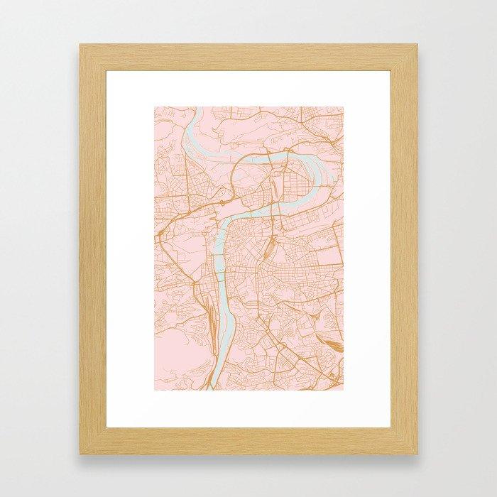 Prague map Gerahmter Kunstdruck