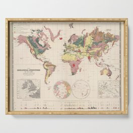 Vintage Geological Map of The World (1856) Serving Tray