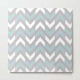 Grey, Mint Green & White Chevron Stripes Metal Print