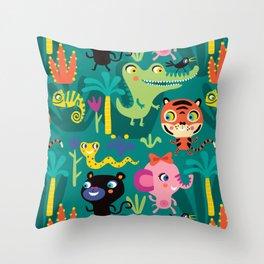Jungle Animals Kids Animal Safari Pattern Throw Pillow