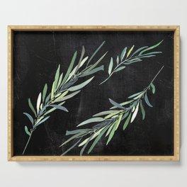Eucalyptus leaves on chalkboard Serving Tray