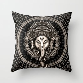 Lord Ganesha - Sepia Black Throw Pillow