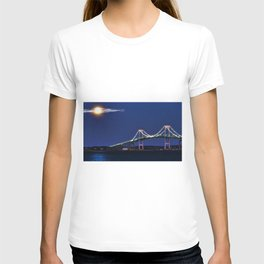 Full Moon and the Newport Bridge at Twilight- Newport, Rhode Island T-shirt