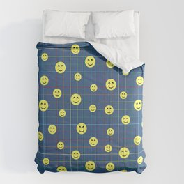 Colorful Smiley Emoji 5 - dark blue Comforters