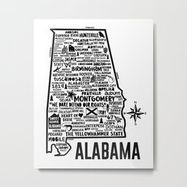 Alabama Map Metal Print