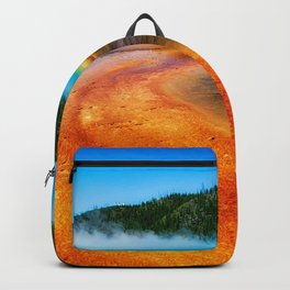 Grand Prismatic Spring geyser hot spring hot water blue lake Yellowstone Wyoming USA Yellowstone National Park Backpack