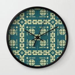 Mediterranean Pattern 11 - Tile Pattern Designs - Geometric - Navy - Ceramic Tile - Surface Pattern Wall Clock