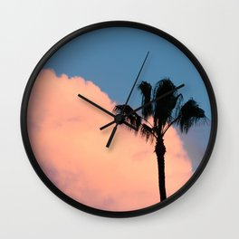 Pink Cotton Candy Cloud and Palm Tree Wall Clock