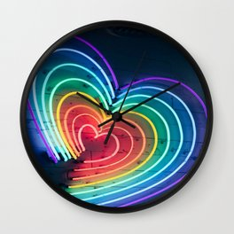 colorful led heart Wall Clock