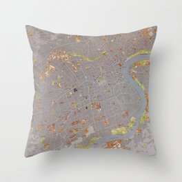 Map of Shanghai China (1983) Throw Pillow