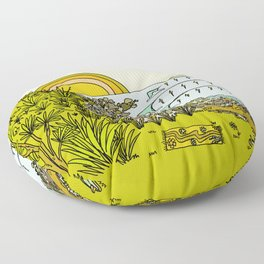 point breaks in paradise // retro surf art by surfy birdy Floor Pillow