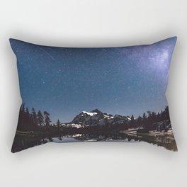 Summer Stars - Galaxy Mountain Reflection - Nature Photography Rectangular Pillow