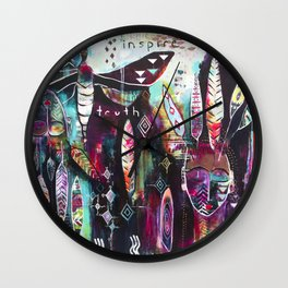 """Inspire Truth"" Original Painting by Flora Bowley & Lynzee Lynx Wall Clock"