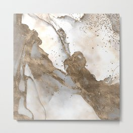 Liquid marble - pearl and gold Metal Print