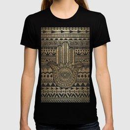 Native Pattern Golden Hamsa Hand T-shirt