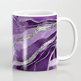 Purple Marble Agate Silver Glitter Glam #1 (Faux Glitter) #decor #art #society6 Coffee Mug