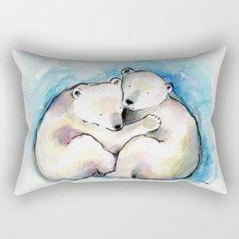 Polar Bear Cubs Watercolour Rectangular Pillow